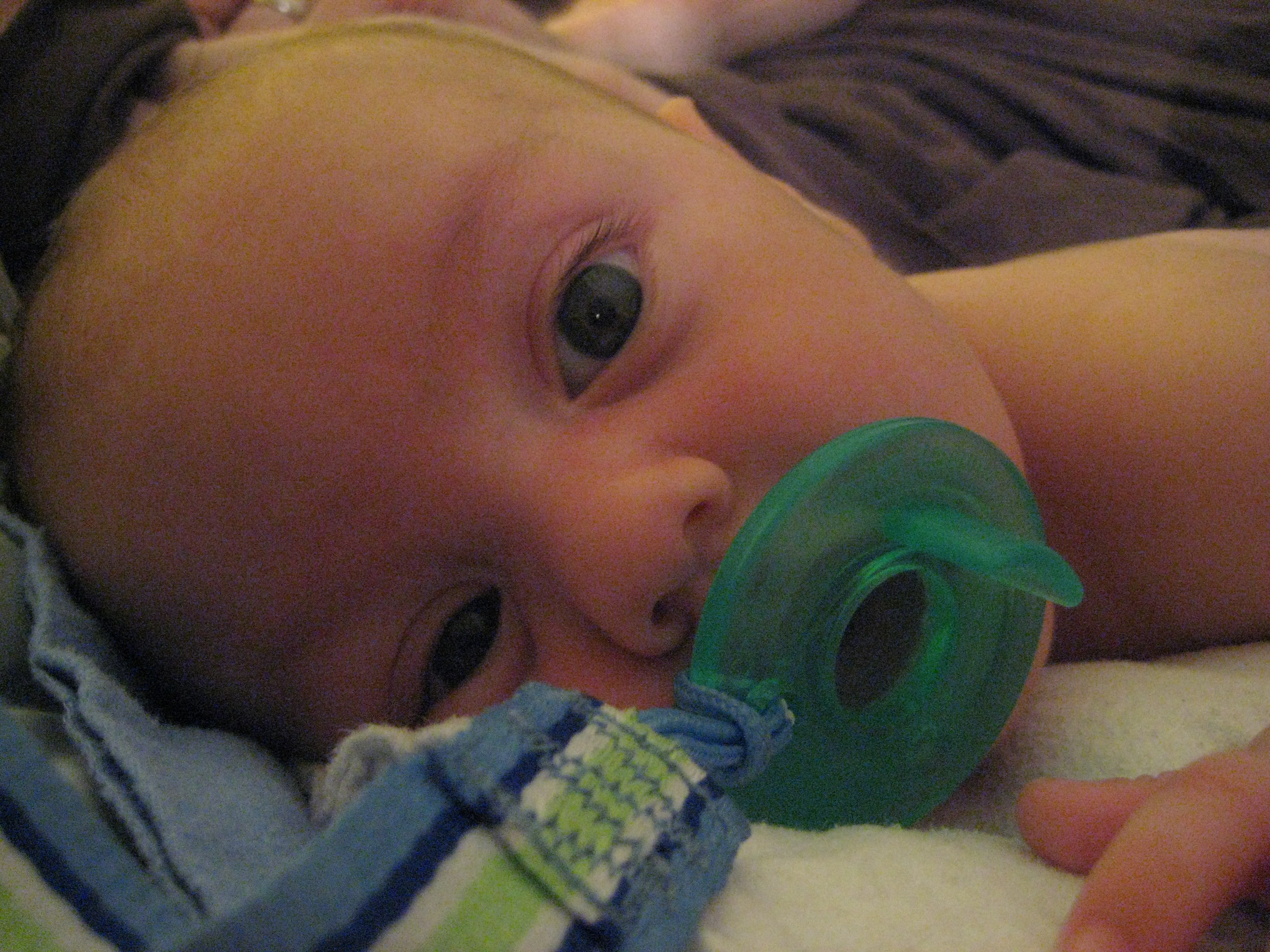 Amy at Anktangle's view at bedtime of baby Daniel at 2.5 months