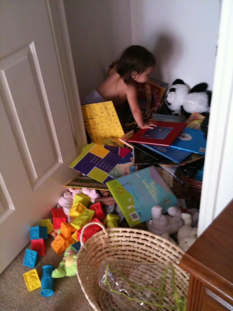 Marcella cleaning the closet