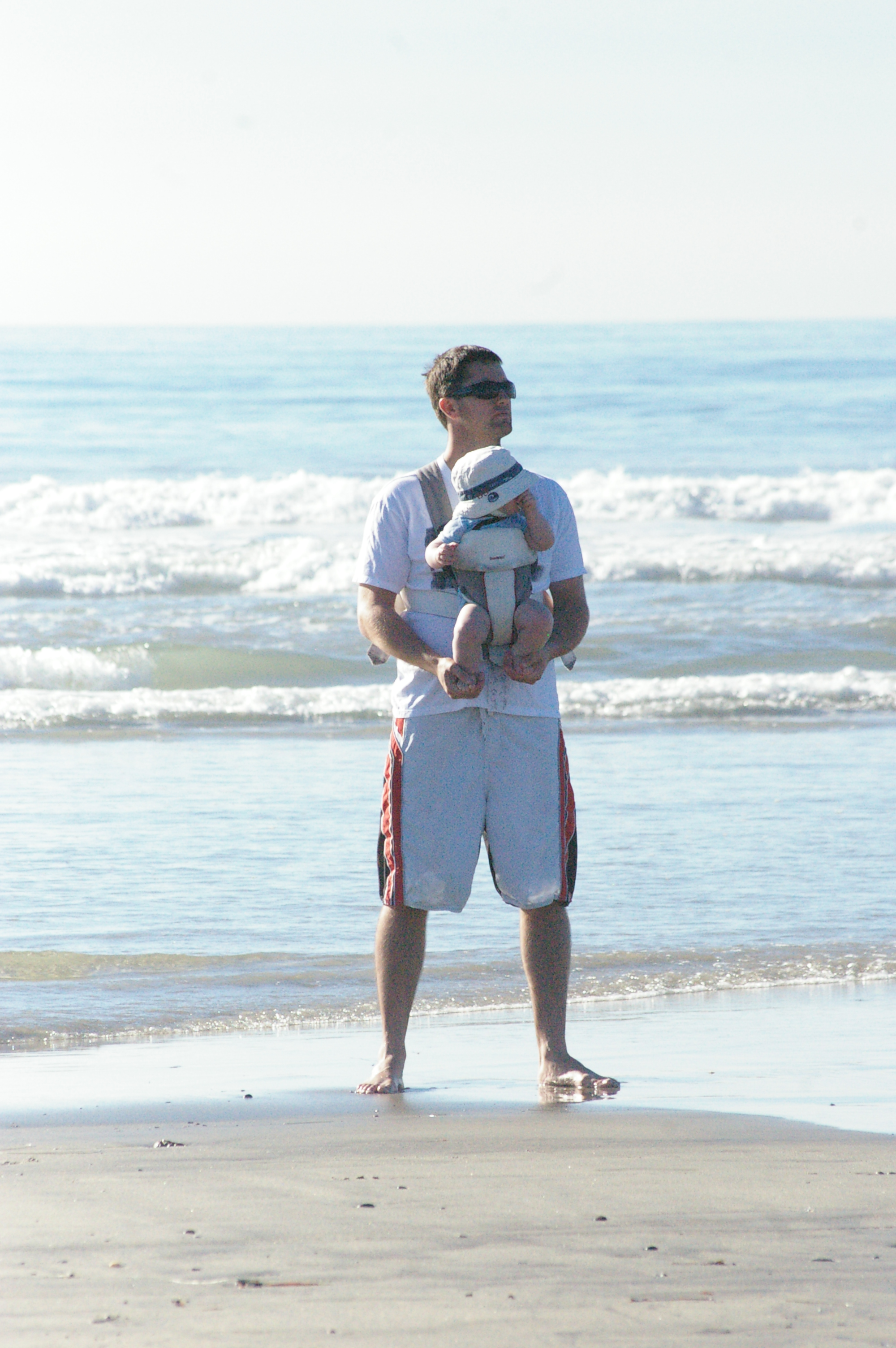 daddy and Brady at the beach