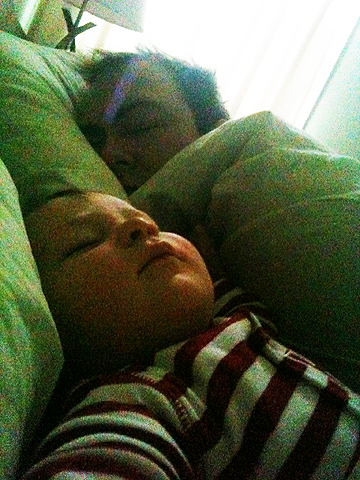 The ArtsyMama's view every morning of Little Man and her hubby