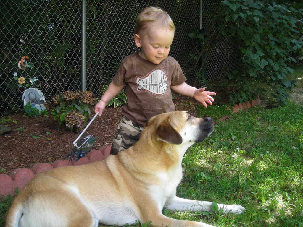 3 and 1/2 yo Ryder &amp; our dog Mackey