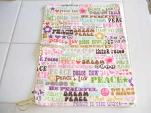 Curly Monkey Organic cloth wipe in Think Peace print