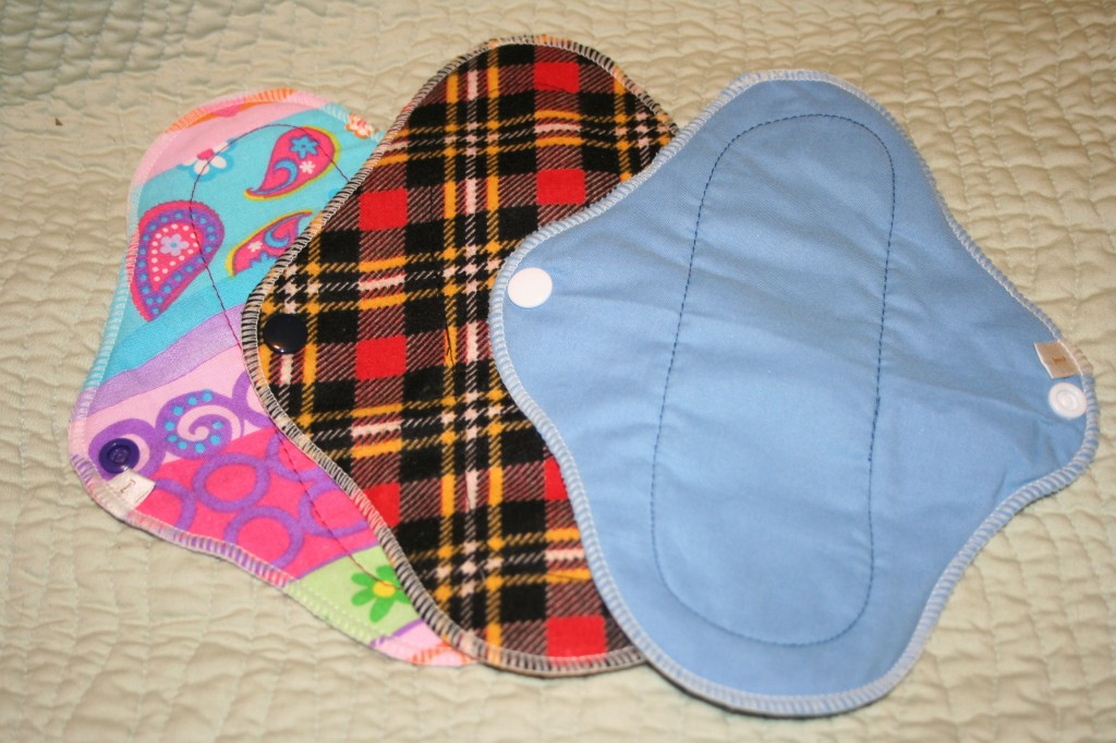 "Set of Three 8"" Cloth Mama Pads"