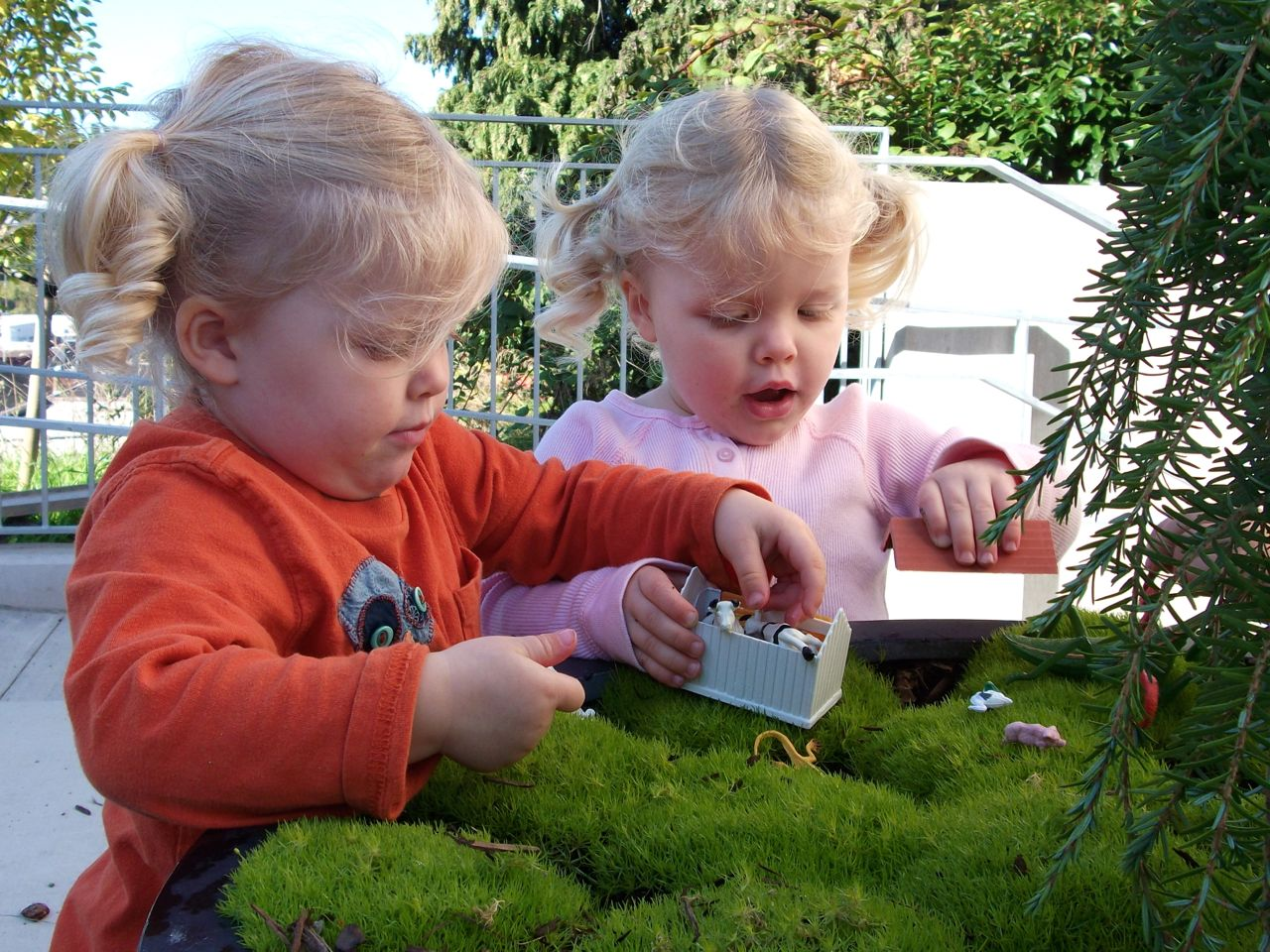 Strewing at the Seattle Children's Playgarden: farm animals discovered in a pot of touchable moss