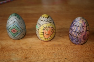 wooden eggs art