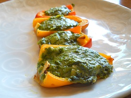 Spinach dip stuffed peppers