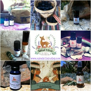 Spiral Elixir collage of aromatherapy items